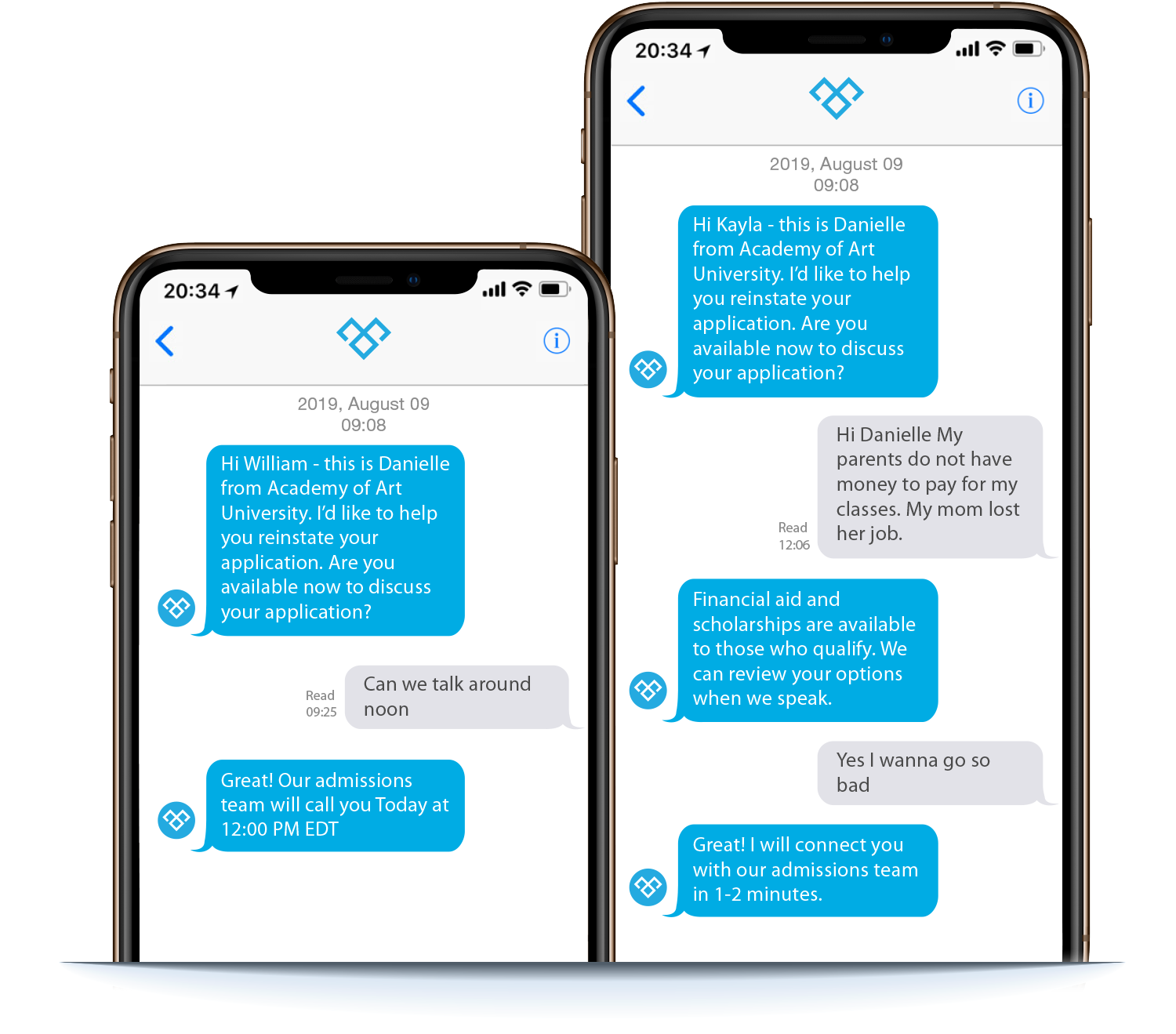 Image showing actual lead generation using Meera Conversation AI on mobile phone