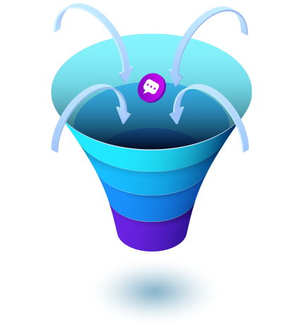 Sales funnel icon showing performance with Meera AI assistant