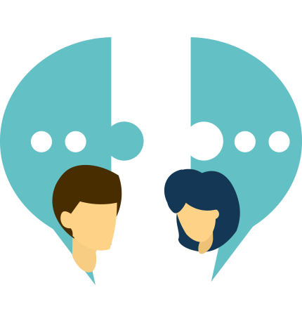 One to one personalized communication icon
