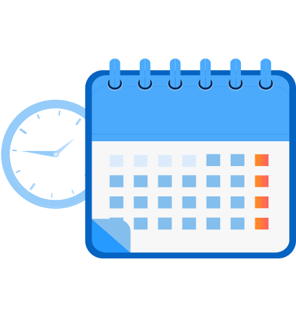 Clock with calendar for scheduling and RSVP confirmations