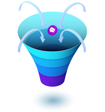 Sales funnel icon showing conversation boost with Meera AI assistant
