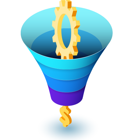 Sales funnel shows how to minimize cost and maximize profitability